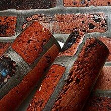 SDKKY Red brick Muster retro bar Clothing Store TV Hintergrund Tapete, 0,53 m * 10 m Dekorative Wandpapier