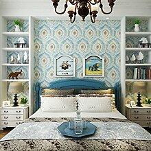 SDKKY Reine komplexe antiken mediterranen Stil Wohnzimmer TV Hintergrund Tapete Tapete Schlafzimmer amerikanische Blume wallpaper Dekorative Wandpapier