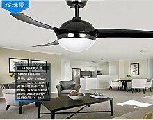 SDKKY restaurant, deckenventilator, einfache led - fan lampe, wohnzimmer mit deckenventilator, ventilator, remote - control - fan, anhänger lampe,perle schwarz