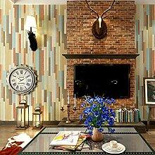 SDKKY Retro Stil Tapete Farbe holzimitation Wohnzimmer TV Hintergrund Restaurant Coffee Shop wallpaper Dekorative Wandpapier