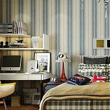 SDKKY Retro Stil Tapete Wohnzimmer TV Hintergrund Wand von England im östlichen Mittelmeerraum Kinder Segeln streifen Tapete, Streifen Dekorative Wandpapier