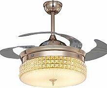 SDKKY rose gold, unsichtbar, deckenventilator, led - fan lampe, esszimmer, wohnzimmer, schlafzimmer, kristall - lampe, deckenventilator, ventilator - lampe,gold - fernbedienung