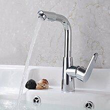 SDKKY Rotary WC-Armatur, Waschtisch Armatur Einloch Becken, das Becken auf der Bühne des Kupfer Wasserhahn Ventil