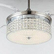 SDKKY-Stealth Decke Ventilator Lichter, einfache Kristall stealth Fan Lichter, Wohnzimmer Esszimmer Fan Kronleuchter