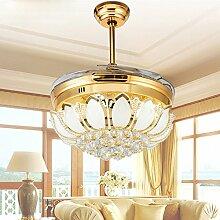 SDKKY-Stealth-Fan Lichtdecke Fan Lampe Ventilator LED Pendelleuchte Lampe Schlafzimmer Wohnzimmer moderne minimalistische Restaurant Crystal Deckenventilator