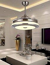 SDKKY Unsichtbare Decke Ventilator, Ventilator Lampe, Wohnzimmer, Restaurant, Schlafzimmer, LED Lüfter, Pendelleuchte, Haushalt moderne kurze Mute elektrischer Ventilator Lampe