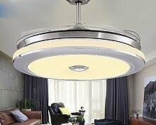 SDKKY unsichtbare fan lichter, wohnzimmer, esszimmer, schlafzimmer, unsichtbare fan, deckenventilator, lampe, led - lampe, fan - anhänger, decke ventilator,silber - fernbedienung