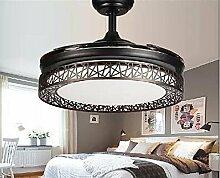 SDKKY Unsichtbare Lampe, Ventilator Lampe Wohnzimmer Restaurant Schlafzimmer Zuhause, einfach modern LED-Fan Kronleuchter, Fernbedienung