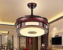 SDKKY Unsichtbare Ventilator Lampe, chinesischen Stil aus Holz LED unsichtbar Ventilator Lampe, B