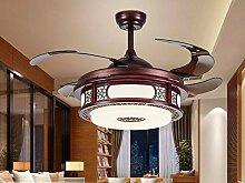 SDKKY Unsichtbare Ventilator Lampe, chinesischen Stil aus Holz LED unsichtbar Ventilator Lampe, EIN
