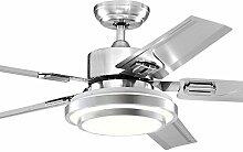 SDKKY Variable Frequenz Ventilator Lampe Deckenventilator, modern einfaches Esszimmer Schlafzimmer, elektrische Ventilator Kronleuchter Home LED, Edelstahl Fernbedienung