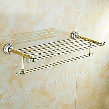 SDKKY Vergoldete antike goldene Handtuchhalter Handtuchhalter bad accessoires blaue und weiße Porzellan