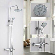 SDKKY-Wand montiert moderne Wand Brauseset round Top Spray, Messing Dusche mit Handbrause, einfache Badewanne Dusche Kopf 90° schwenkbar Armatur