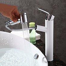 SDKKY Ziehen Sie Waschbecken Wasserhahn, mit Dusche, Doppelbett, Wasserhahn, alle Kupfer heiße und kalte Plattform, Waschbecken Armatur, Waschtisch Zuspitzung, verlängerte Wasserhahn, B