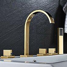 SDMQW Duschsystem, Chrom, poliert, mit 3 Griffen,