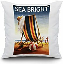 Sea Bright, New Jersey - Beach Chair and Ball (18x18 Spun Polyester Pillow Case, Black Border)