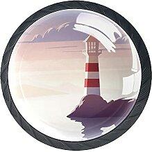 Sea Coastal Lighthouse Landscape, 4Pack ABS
