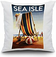 Sea Isle, New Jersey - Beach Chair and Ball (18x18 Spun Polyester Pillow Case, White Border)