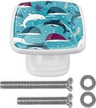 Sea Plants Cartoon Dolphin Shark Blue, 4 Stück