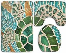 Sea Turtle Rutschfester Badteppich-Set, 3-teiliger