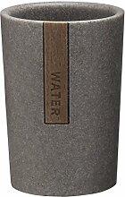 Sealskin 361870414 Becher Pierra Badaccessoire, Polyresin / Plastik, grau, 7,3 x 8,1 x 10,8 cm