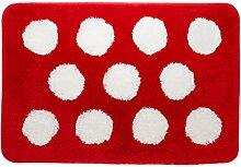 Sealskin Badteppich Polka, Farbe: Rot, 60 x 90 cm