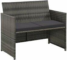 SEAPHY 2-Sitzer-Gartensofa mit Polstern Grau Poly