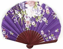 Seashell Shape Bloem Print Chinese stijl vouwen de hand ventilator Purple