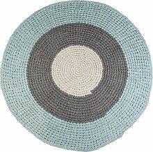 Sebra Geknüpfter Teppich 120 Blue/Grey (Ø)