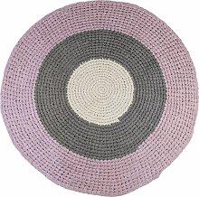 Sebra Geknüpfter Teppich 120 Rose/Grey (Ø)