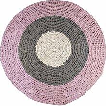 Sebra runder Häkel-Teppich aus 100% Baumwolle in zarten Pastellfarben rosa-grau, handgefertigter Spielteppich mit 120cm Durchmesser für das Kinderzimmer oder Wohnzimmer, nachhaltig und pflegeleich