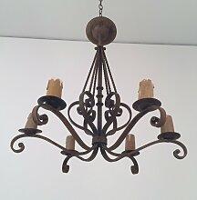 Sechs Kerzen Schmiedeeisen Kronleuchter, 1920er