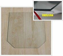 Sechseck 100x120cm - Funkenschutzplatte Kaminbodenplatte Glasplatte f.Ofen Ofenunterlage Kaminofen (Sechseck 100x120cm mit Silikon-Dichtung)