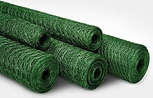 Sechseckdrahtgeflecht | Maschendrahtzaun für Garten, Balkon und Kleintiere | Maschenweite 25 mm | grün beschichtet | viele Größen | 75cm x 10m