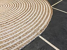 Second Nature Große 120cm rund Teppich beige