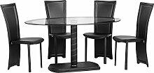 Seconique Cameo Oval Esstisch mit 4Cameo schwarz Stühle–Bordüre klares Glas/schwarz/schwarz/schwarz KUNSTLEDER