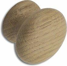 SECOTEC Möbelknopf 35 mm Eiche lackiert Schubladengriff, Möbelgriff, Möbelknauf, Holzknopf 1 Stück