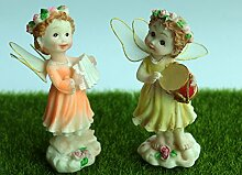 SecretRain Orange Gelbe Engel Elfen Kunstharz Miniatur Garten Fairy Fee Puppenhaus Gatendekoration als Geschenk