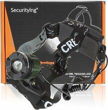 SecurityIng® Zoomable CREE LED 1600 Lumen 3 Schalter Modi Scheinwerfer, wiederaufladbare Stirnlampe, wasserdicht und Drehen Entwurf Cree T6 LED Scheinwerfer Kopflampe Beleuchtung Lampe Stirnlampe mit Ladegerä