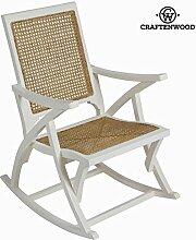 Sedia a dondolo di rattan bianca by Craften Wood (1000026335)