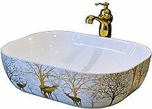 SEEKSUNG Aufsatzwaschbecken Keramik-Waschbecken