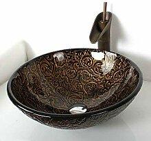 SEEKSUNG Waschbecken Antikes rundes Badezimmer