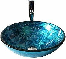 SEEKSUNG Waschbecken Blaue Glas-Waschbecken mit