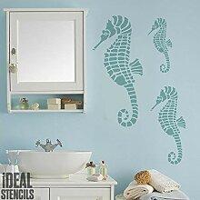 Seepferd Schablone. Nautischer Stil Heim Wand