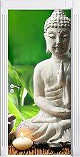 Seerosenblüte mit Buddha Statue als Türtapete, Format: 200x90cm, Türbild, Türaufkleber, Tür Deko, Türsticker
