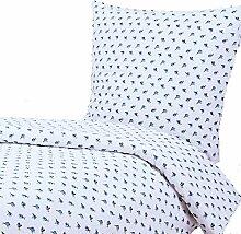 Seersucker Bettwäsche, 135x200 80x80 cm, Rosen, Blumen, Hotelverschluss, Baumwolle, bügelfrei | Blau