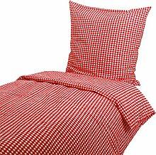 Seersucker Hotelbettwäsche 135x200 80x80 cm, Karo 1x1 cm, Rot, Hotelverschluss, Baumwolle, kochfest, bügelfrei, karier