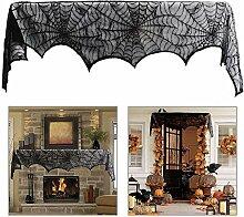 SEEU Halloween Deko Türvorhang Tür Tisch Fenster Dekoration Spinnennetz,Schwarz, 18 x 96 Zoll