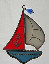 Segelboot gebeizt Glas Suncatcher