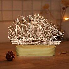 Segelboot Nachtlicht LED 3D Illusion Schiffslampe